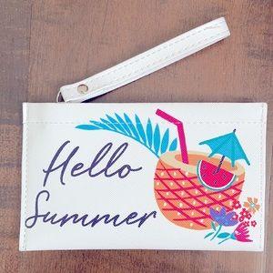 "White ""Hello Summer"" Zipper Wristlet Pouch 🍉 🍹"
